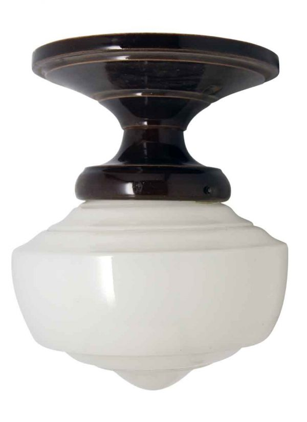 Milk Glass Fixture with Ceramic Fitter