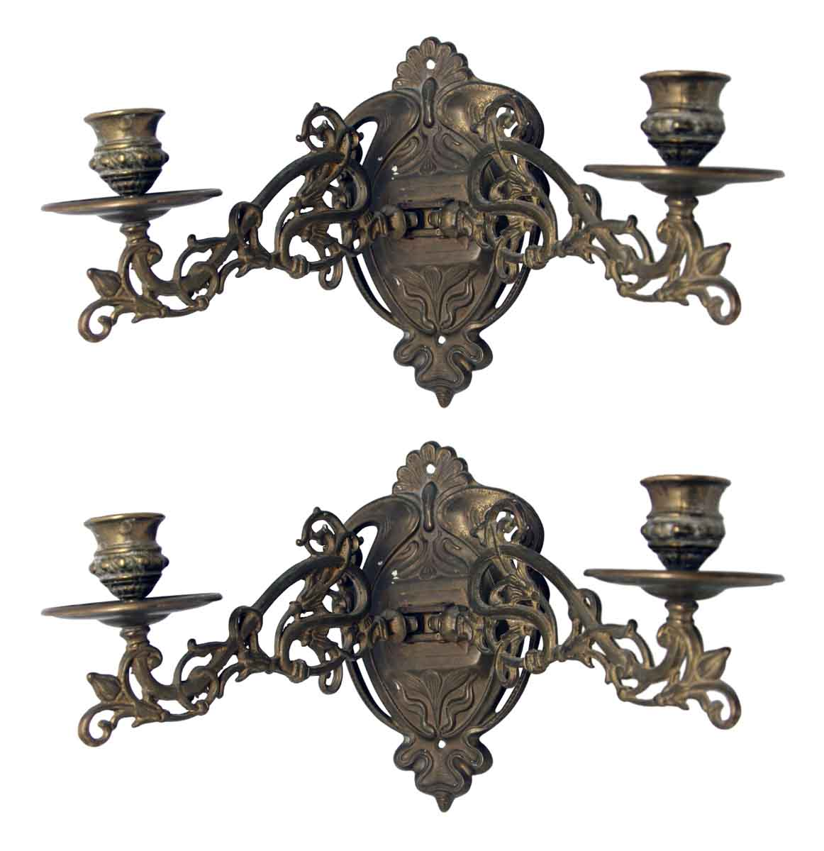 Wall Lights With Adjustable Arms : Art Nouveau Brass Sconces with Adjustable Arms Olde Good Things