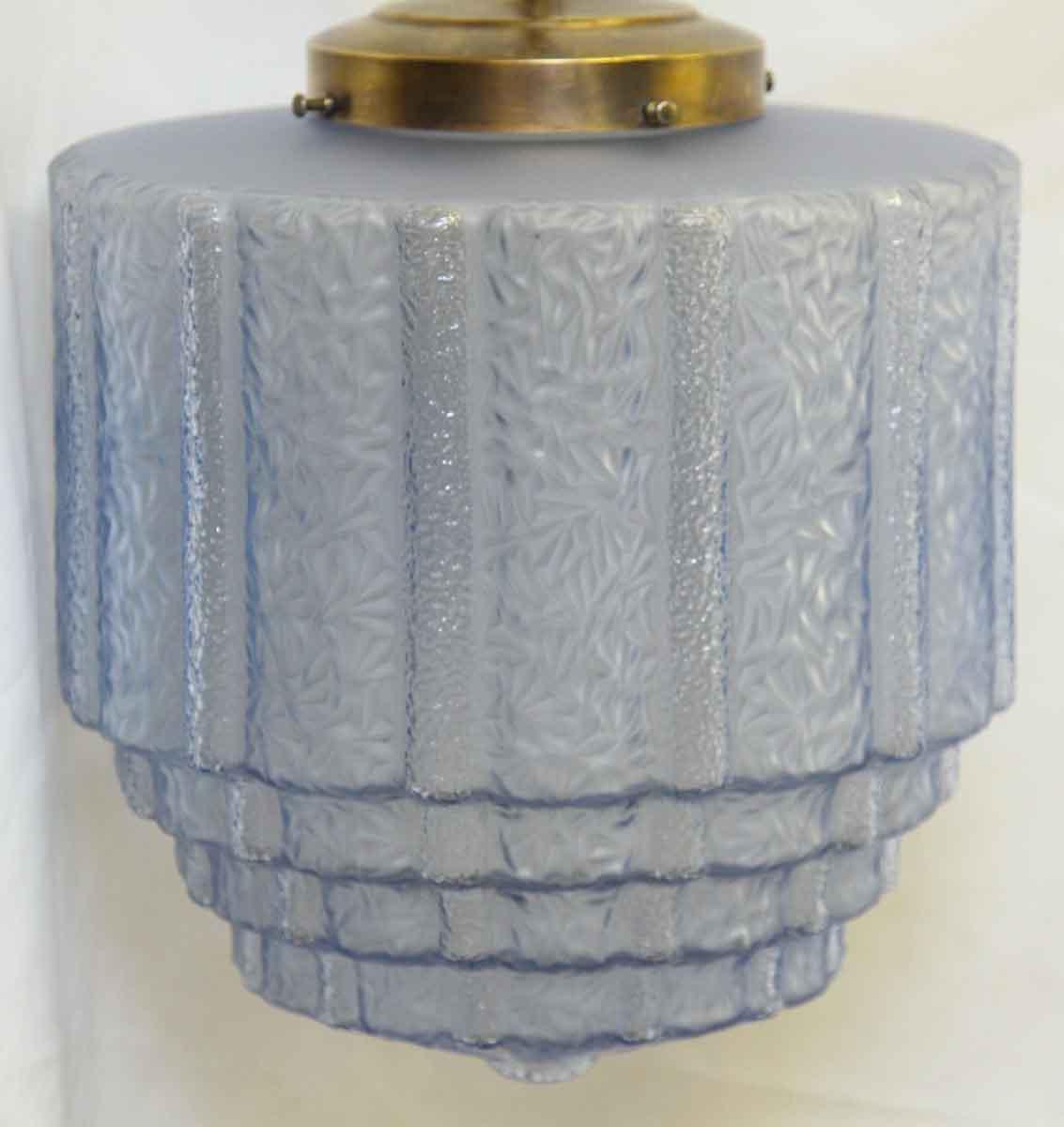 Antique Textured Blue Glass Globe Pendant Light Olde