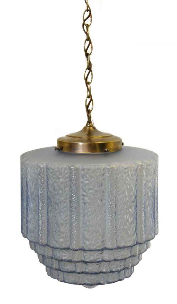 Antique Textured Blue Glass Globe Pendant Light