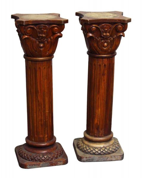 Pair of Small Carved Wooden Pedestals