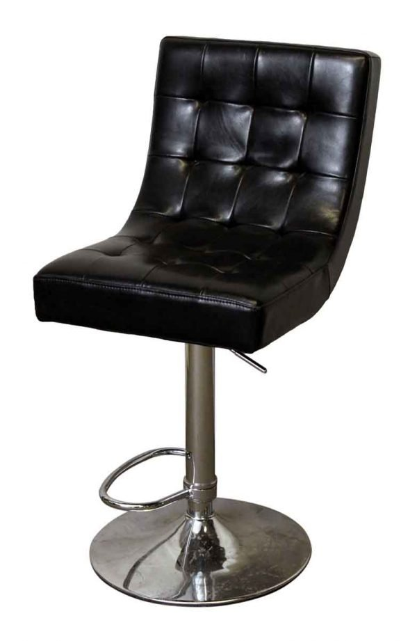 Black Swivel Chair with Chrome Base