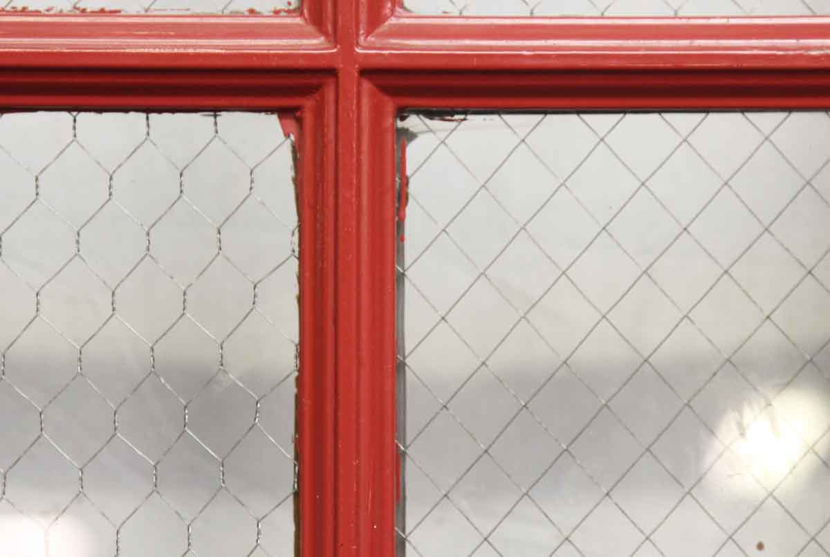 Red Metal Door with Nine Chicken Wire Glass Panels | Olde Good Things