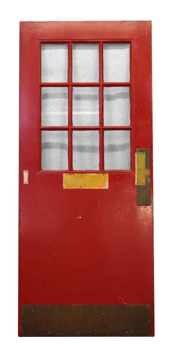 Red Metal Door Nine Chicken Wire Glass Panels