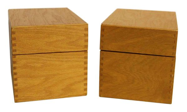 Pair of Wooden Index Card Boxes