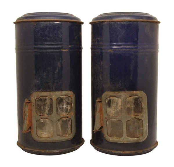 Pair of Worn Blue Lantern Cans