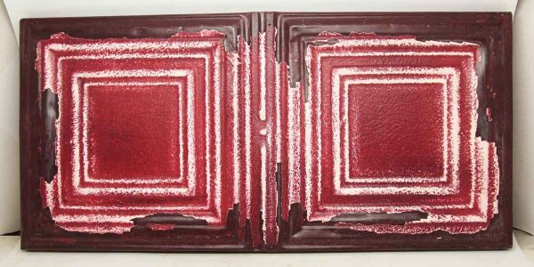 Square Pattern Red Tin