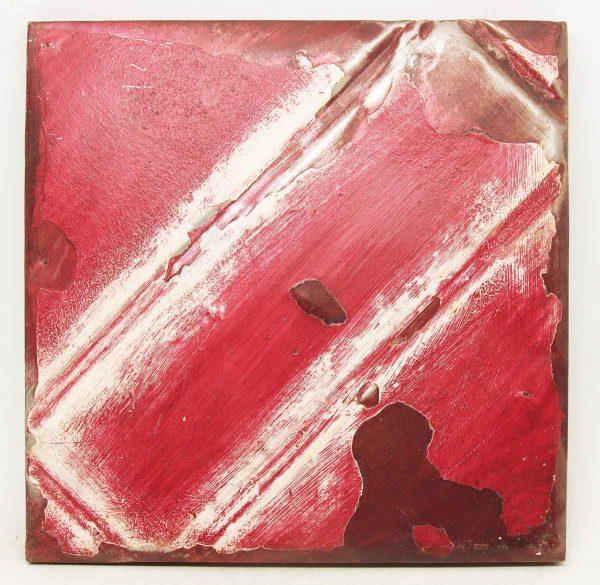 Red & White Salvaged Tin Panel
