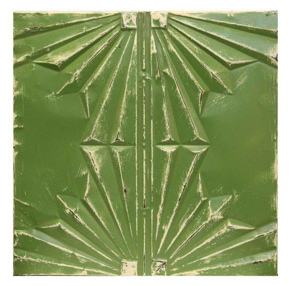 Green Geometric Antique Tin Panel