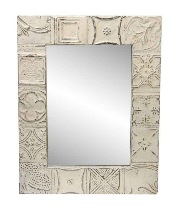 Cream White Mixed Tin Patch Mirror
