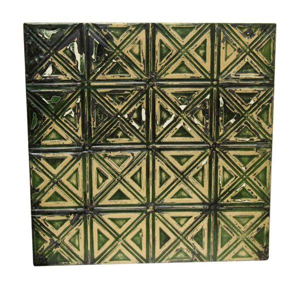 Green & Cream Decorative Tin Panel