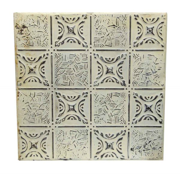 Decorative Tin Panel with White Mixed Patterns