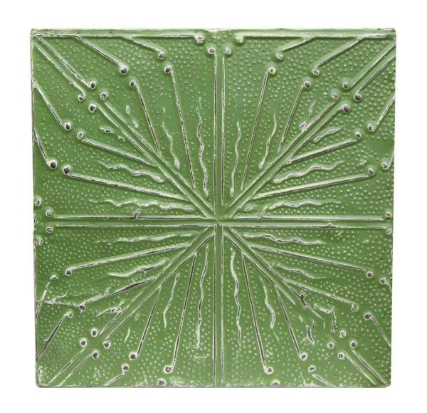 Green & White Salvaged Tin Panel