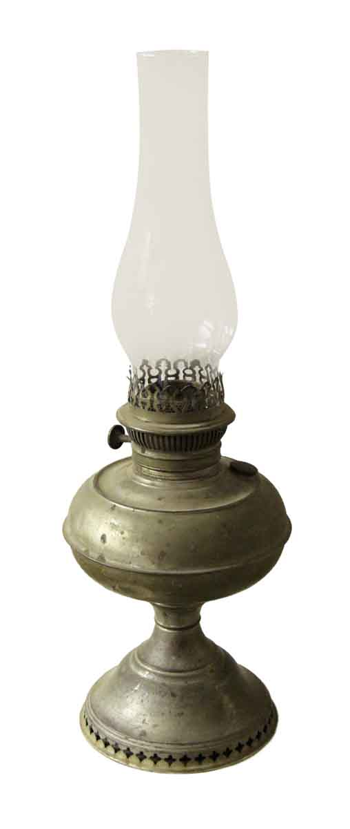 Old Gas Lamp with Glass Hurricane Shade