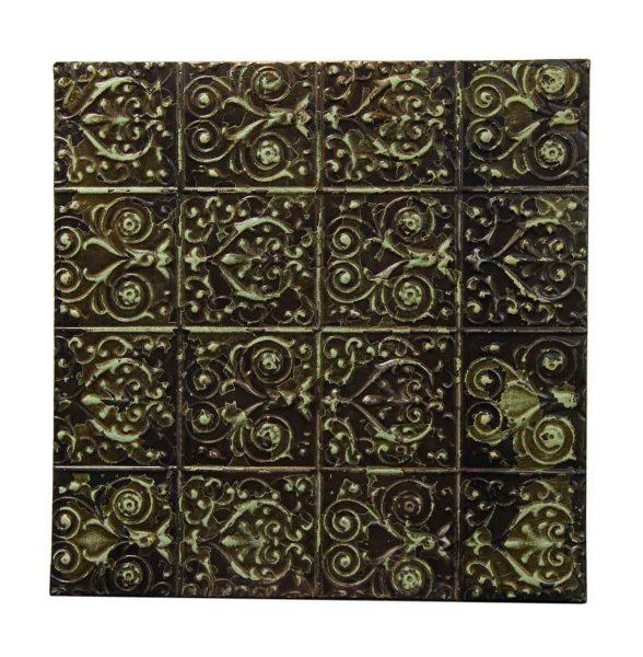 Decorative Swirly Green & Black Tin Panel