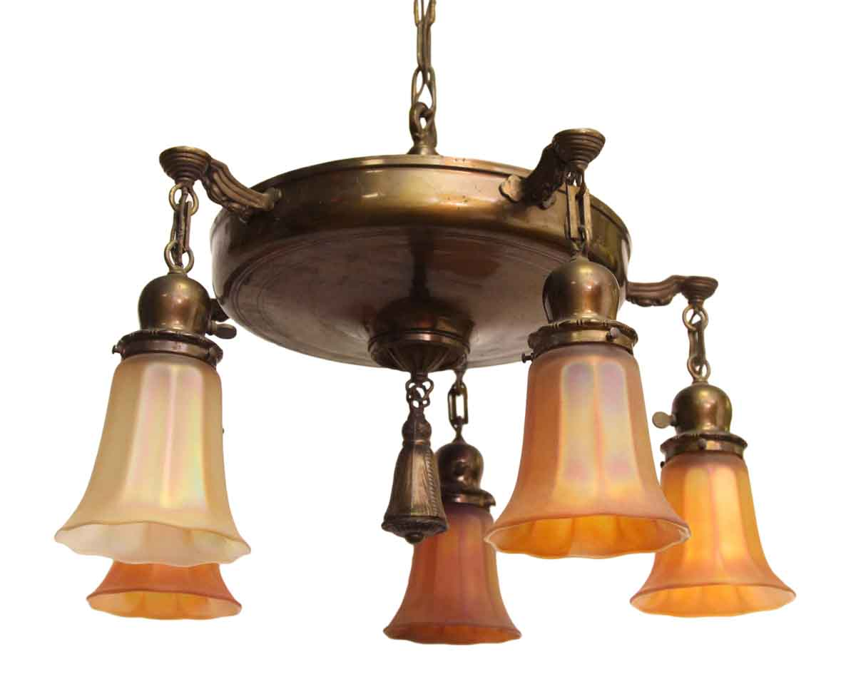 five down light brass chandelier with art glass shades olde good things. Black Bedroom Furniture Sets. Home Design Ideas