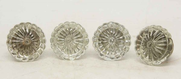 Set of Glass Fluted Flower Knobs