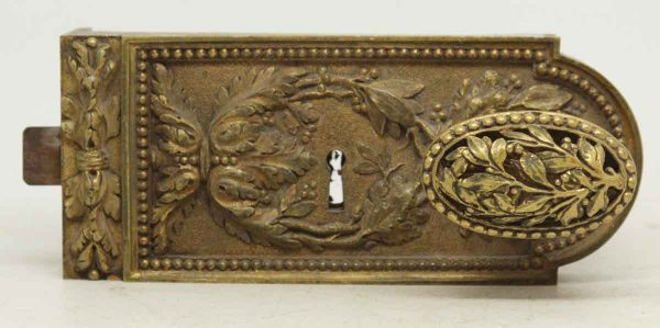 Bronze Floral Surface Lock & Oval Knob