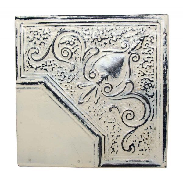 Sliver & White Corner Tin Panel