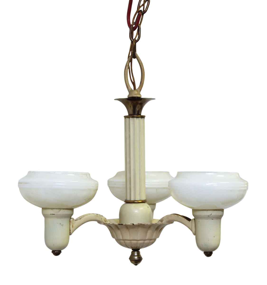 vintage 3 arm yellow chandelier with white glass shades olde good things. Black Bedroom Furniture Sets. Home Design Ideas