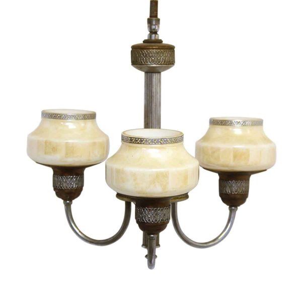 Three Arm Chandelier with Ornate Iridescent Glass Shades