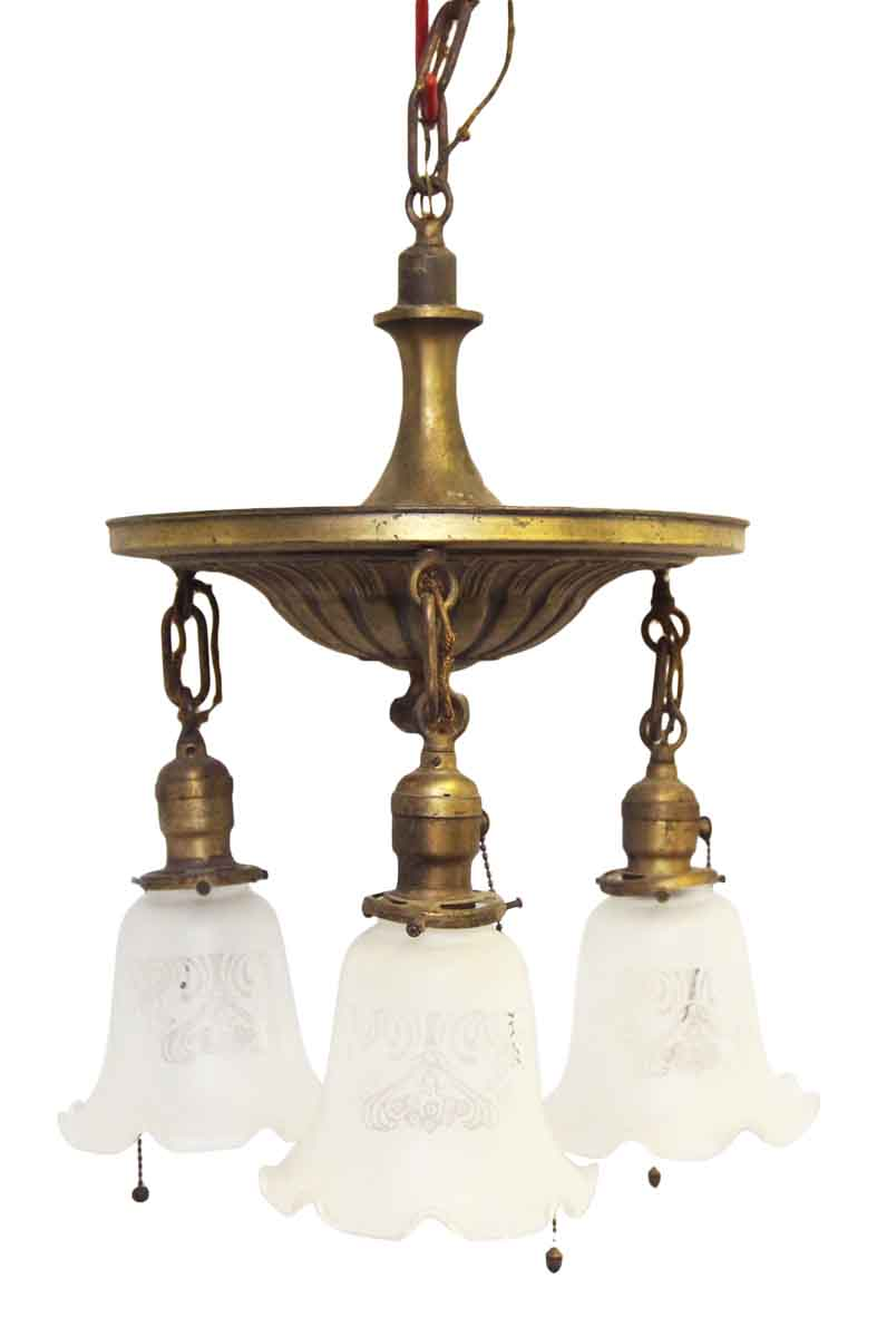 Down Light Brass Chandelier With Ruffled Glass Shades Olde Good Things