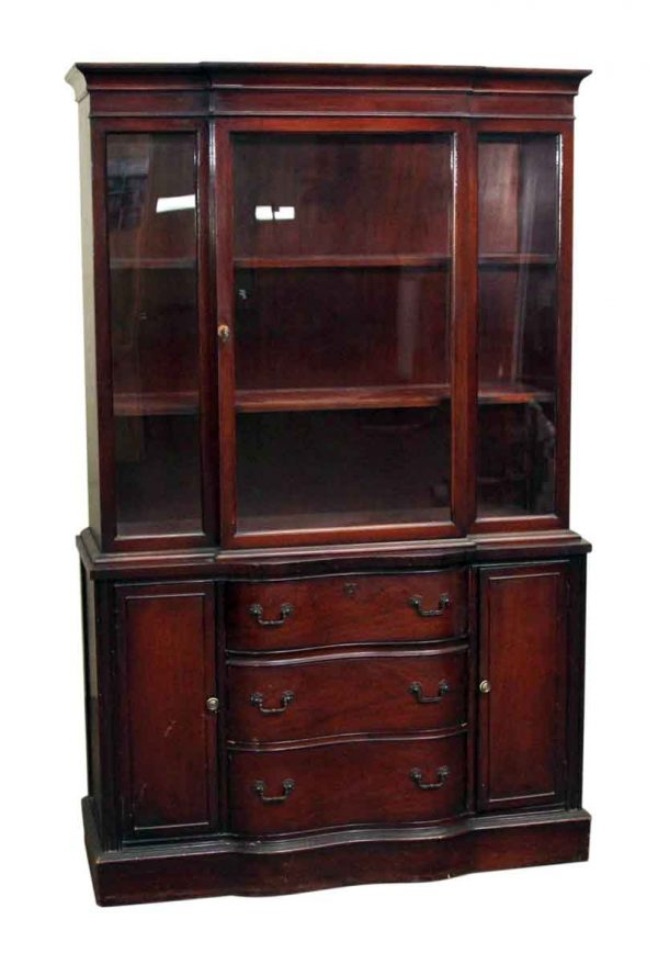 Mahogany China Cabinet with Serpentine Front