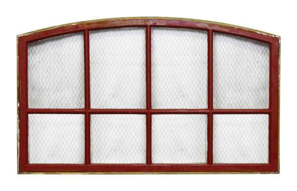 8 Panel Chicken Wire Arch Red Metal Window
