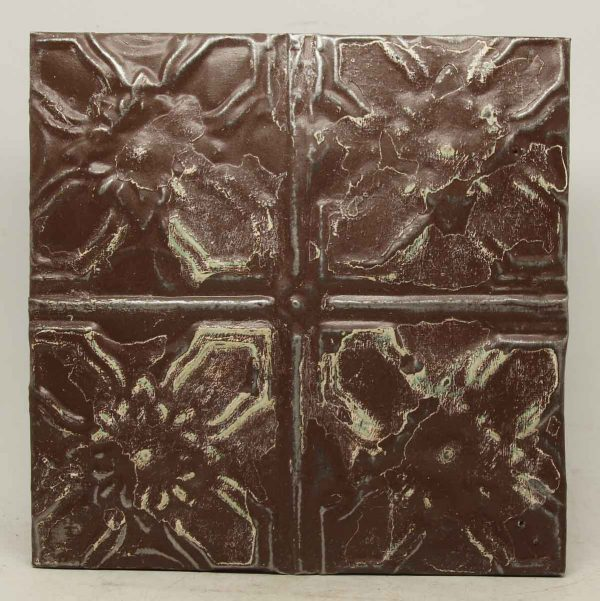 Decorative Brown Floral Tin Panel