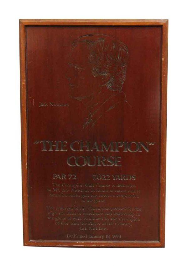 Champion Course Plaque