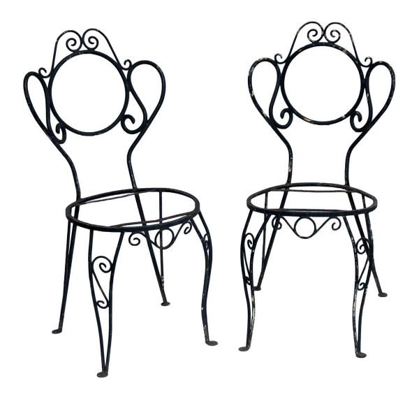 Pair of Black Iron Garden Chairs