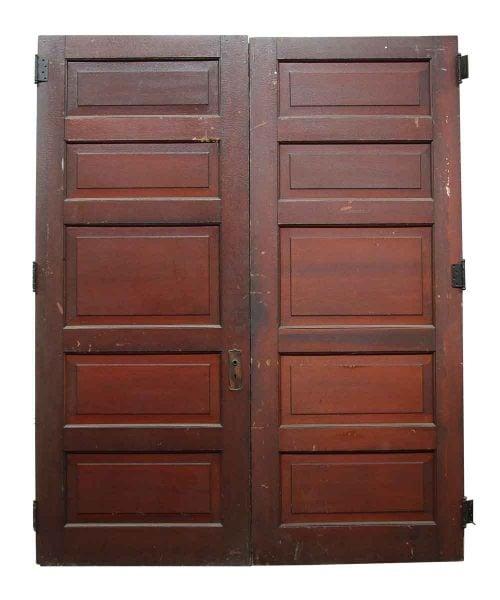 Pair of Five Panel Wooden Doors