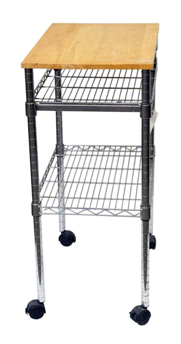 Metal Roll Storage Cart With Wood Top Olde Good Things