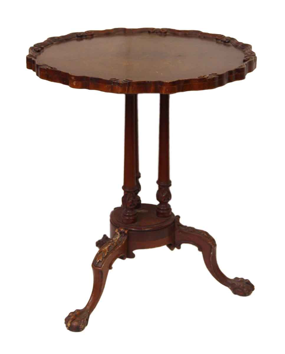 Carved Wooden Table With 3 Claw Feet Legs Olde Good Things