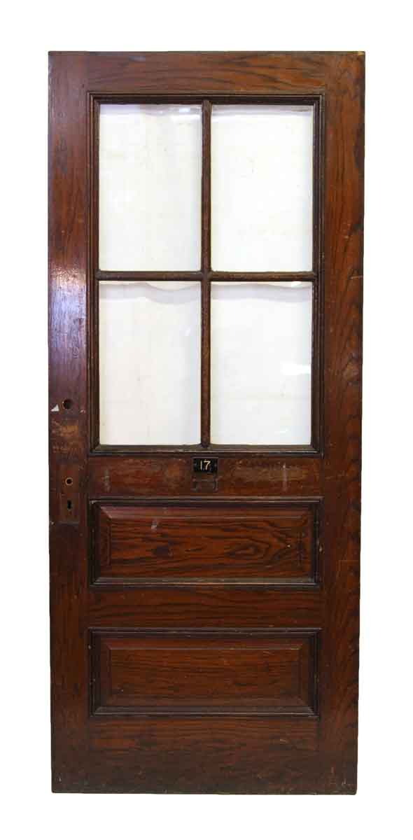 Door with four glass panels olde good things for Antique looking interior doors