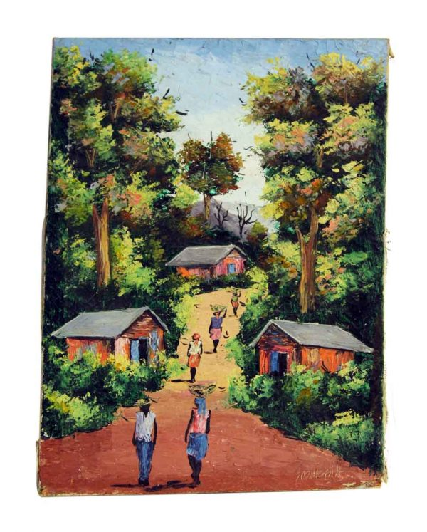 Village Scene Canvas Painting