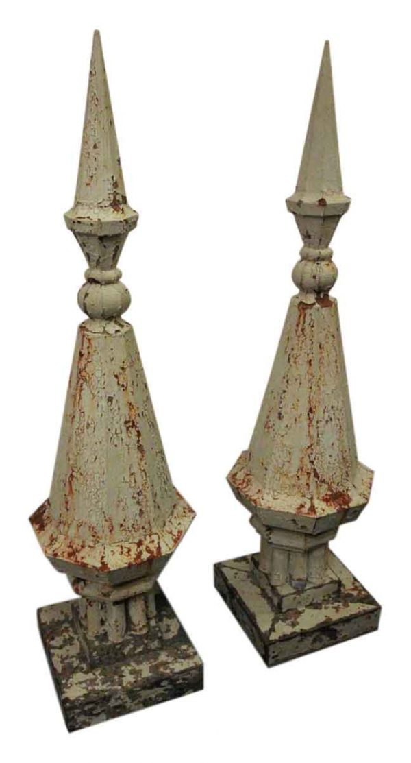 1910 Pair of Zinc Finials from a Historic Pa Audoban High School Building