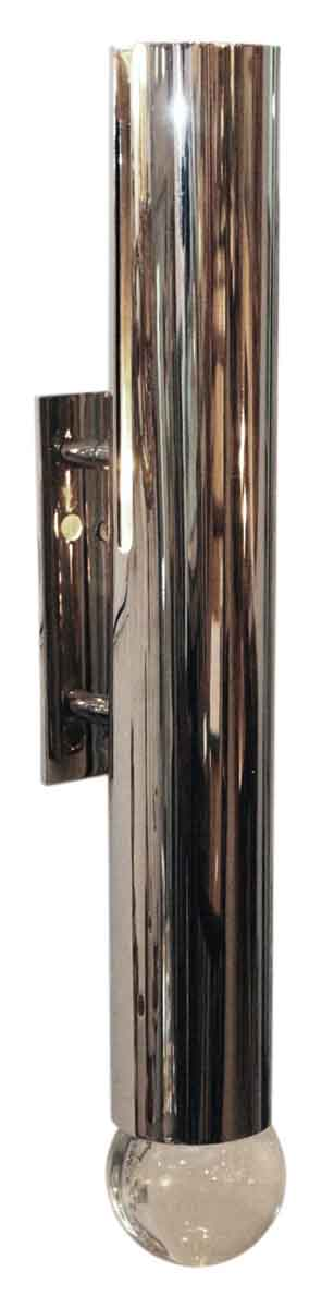 Mid Century Style Cylinder Shaped Nickel Wall Sconce
