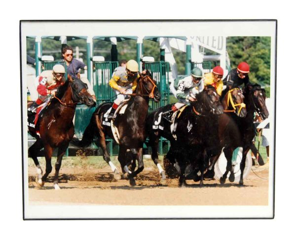 Vintage Framed Horse Racing Photo