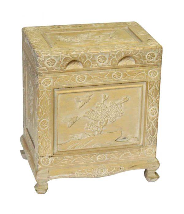 Blonde Carved Wooden Storage Chest