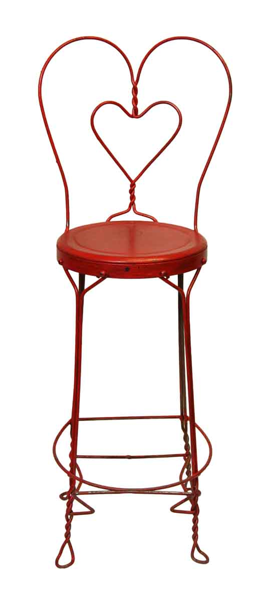 Red Iron Ice Cream Stool with Heart Shaped Back