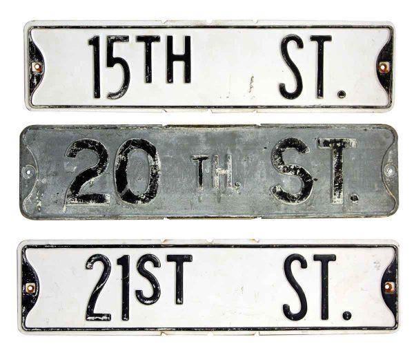 Set of Three Black & White Street Signs