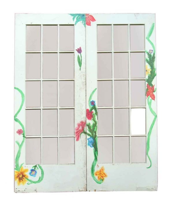 Pair of White Glass Panel Doors with Painted Flowers