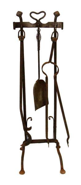 Hand Wrought Iron Fireplace Tool Set