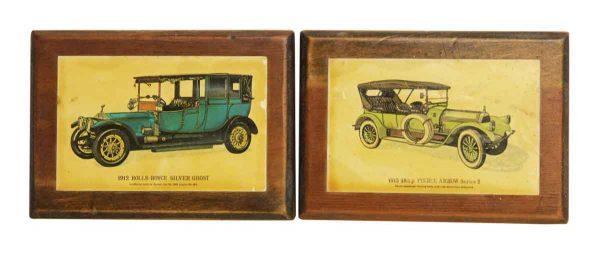 Wooden Rolls Royce & Pierce Arrow Plaques