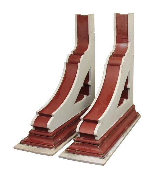 White & Dark Red Oversized Wooden Corbels