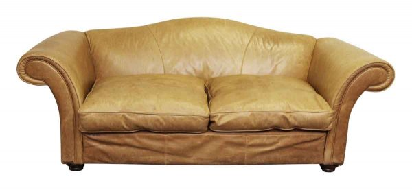 Large Vintage French Camelback Leather Couch