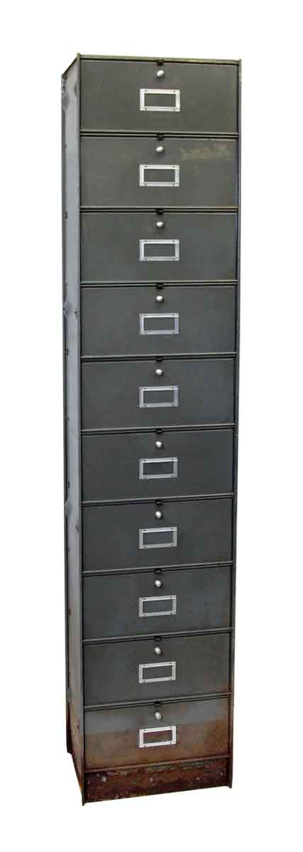 Tall Gray Steel Filing Cabinet