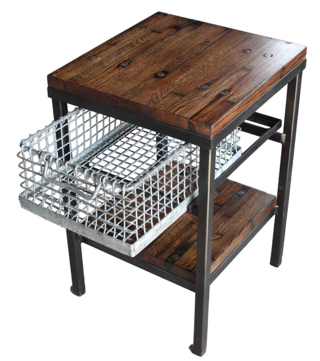 Galvanized Basket Night Stand or Side Table with Storage