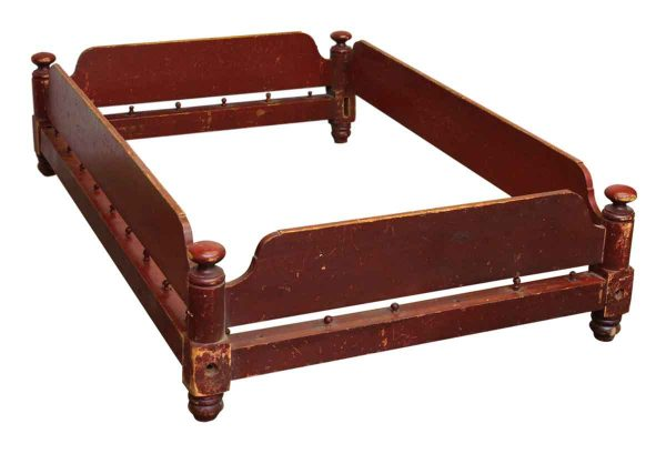 Red Wooden Twin Bed Frame